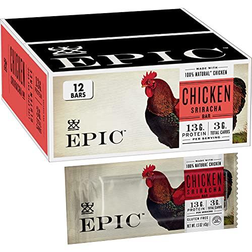 EPIC Chicken Sriracha Protein Bars, Whole30, Keto Friendly, 12 ct, 18 oz