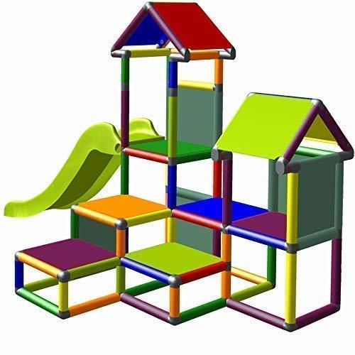 move and stic Spielturm Kletterturm Gesa mit Rutsche für Kleinkinder mit Kriechtunnel Mas (7 Farben Multicolor)