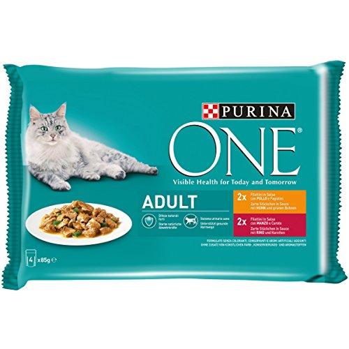 Purina One Umido Gatto Adult Filettini in Salsa con Pollo e Fagiolini, con Manzo e Carote - 48 Buste da 85 g Ciascuna (12 Confezione da 4 x 85 g)