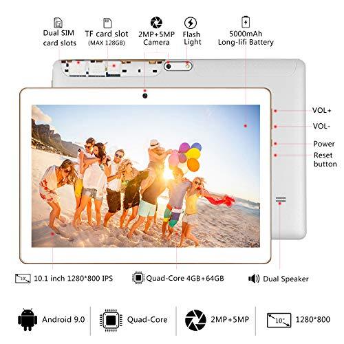 YOTOPT Tablet 10 Zoll, Android 9.0, 4GB RAM, 64 GB ROM, Quad Core, 5Mp + 2MP Kamera, 1280 * 800 IPS, Wi-Fi + LTE, Bluetooth, GPS, Schwarz (White)