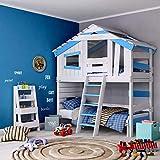 BIBEX Jugend- und Kinderbett, Doppelbett, Etagenbett, Spielhaus in zartem Creme-weiß/Himmel-blau...