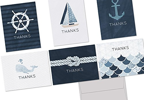 Note Card Cafe Thank You Card with Gray Envelopes | 72 Pack | Blank Inside, Glossy Finish | Nautical Thank You Design | Bulk Set for Greeting, Appreciation, Corporate