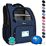 PetAmi Deluxe Pet Carrier Backpack for Small Cats and Dogs, Puppies   Ventilated Design, Two-Sided Entry, Safety Features and Cushion Back Support   for Travel, Hiking, Outdoor Use (Heather Navy)