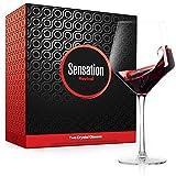Season STORY Large Red Wine Glasses Set of 2 - 24oz Fancy Crystal Wine Glass, Modern & Hip Square Copas de Vino Cristal Grandes unique tall stemmed glassware 4 drinking wines, burgundy, Valentines Day