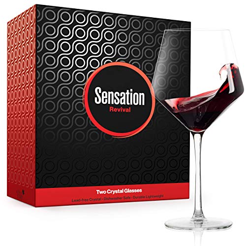 Season STORY Large Red Wine Glasses Set of 2 - 24oz Fancy Crystal Wine Glass, Modern & Hip Square Copas de Vino Cristal Grandes unique tall stemmed glassware best 4 drinking wines pinot noir, burgundy