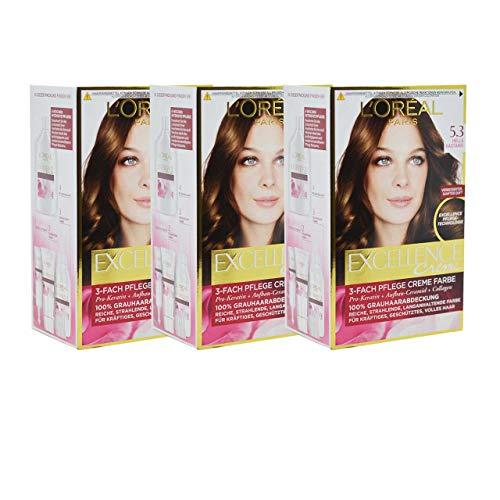3x L'Oreal Haarfarbe Excellence Cream - (3x192ml) (5.3 - Helle Kastanie)