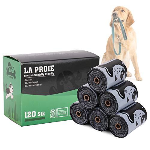 Bolsas Perro Bolsas Caca Perro Biodegradable Con Adaptador, Resistente Al Desgarro E Impermeable, DiseñO Grueso - 6 Rollos / 120 Piezas