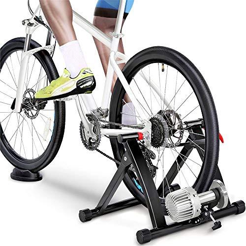 Yaheetech Rullo Trainer Allenamento Bici a Liquido Olio Silenzioso Pieghevole in Acciaio per Bicicletta da 26 a 28 Pollici e 700C con Ruota di Riduzione del Rumore Nero
