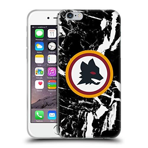 Head Case Designs Licenza Ufficiale AS Roma Marmoreo Nero 2 Grafiche Città Cover in Morbido Gel Compatibile con Apple iPhone 6 / iPhone 6s
