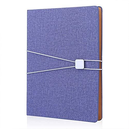 FOBOZONE A5 Leinennotizbuch, nachfüllbar, lose Blätter, Notizblock, klassisch liniert mit Tasche, elastisches Band, 100 Blatt 100 g/m² Papier (blau)
