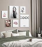 Set di 6 immagini per soggiorno, camera da letto, stile fotografico, dimensioni 30 x 40 cm, 20 x 30 cm, senza cornice, decorazione per la casa, la camera, il soggiorno, la camera da letto (cate)