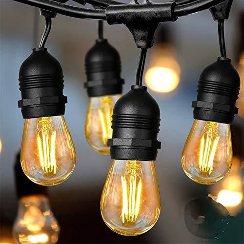 Albrillo S14 LED Lichterkette Glühbirne Außen - 15M Lichterkette Outdoor mit 15 Stück E27 Vintage Edison Birnen, Retro 2500K Warmweiß Deko Licht für Garten, Zuhause, Party, Hochzeit, Wasserdicht IP65