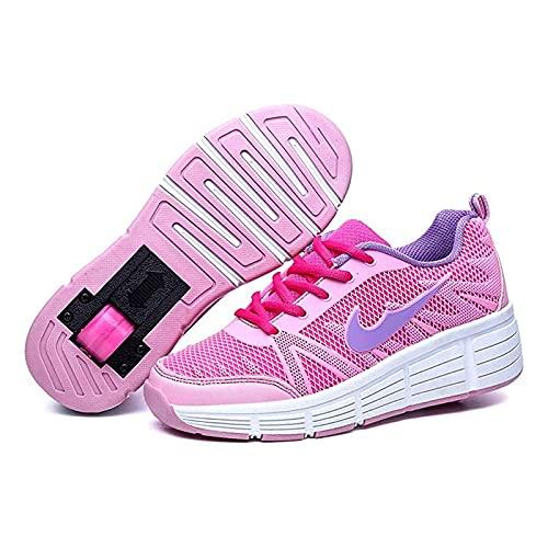 HANHJ Zapatos Deportivos Zapatos Patinaje para Niños Zapatos Intermitentes Zapatos Chicas Jóvenes con Ruedas LED Patines Ruedas Zapatos Running Zapatos Rodillo Niños Niñas,Pink-31