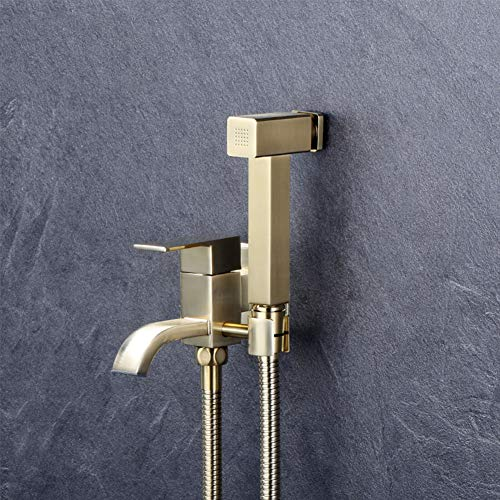 Buy Brushed Gold Bidet Toilet Faucet, Hand Held Bidet Sprayer Douche Kit Shattaf Solid Brass Square ...