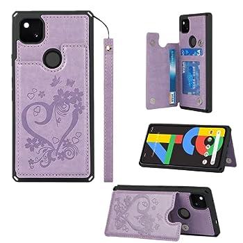 JWS-C Google Pixel 5 Case Wallet with Card Holder Slots Flip case PU Leather Embossed Mandala Flower Cover case for Google Pixel 5-Purple