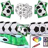 football party Pack Fournitures Enfants Anniversaire Vaisselle décoration de Football 16 invités - Ballons de plaques de fête de Football - Ballons gratuits Pompes Bougies