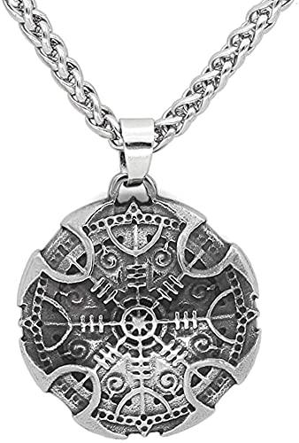AMOZ Collares, Joyas, Utilizados para Amuleto Nórdico Vikingo de Acero Inoxidable, Collar con Colgante de Brújula Vegvisir con Bolsa de Regalo
