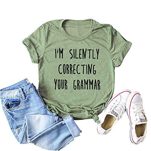 Camiseta feminina ZYX I am Siltely Correcting Your Grammar com estampa de letras e mangas curtas, Verde, Small