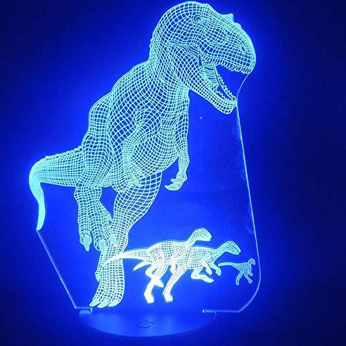 Diaporama 3D-optische illusie, nachtlampje, enorme dinosaurus, Tyrannozuur, decoratie, LED, tafelverlichting, nachtlampje, decoratie, lamp, afstandsbediening, 16 wit, klok, 7 kleuren, zwart
