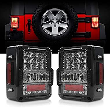RUXIFEY LED License Plate Lights Rear Lamp Replacement Compatible with 2007 to 2018 Jeep JK Wrangler 6500K White