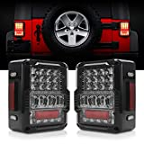 DOT Approved 4D LED Tail Lights Compatible with 2007-2017 Jeep Wrangler JK Brake Reverse Light Rear Back Up Lights...