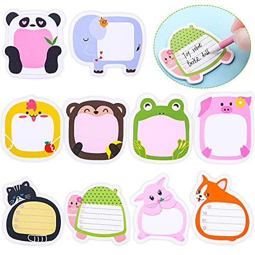 30 Pieces Cartoon Animal Sticky Adhesive Notes Animal Memo Notes Colorful Cute Sticky Pad Self-Stick Animal Notepad Page Markers for Office School and Home, 10 Styles