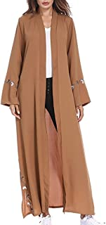 Women Long Sleeve Button Down Cardigan Coat Dubai Muslim Middle East Robe Loose Embroidery Maxi Dress