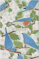 HDミズーリ州-州鳥と花のコレクション-ブルーバードとサンザシのパターン106324(19x27の大人向けプレミアム1000ピースジグソーパズル)
