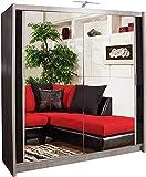 Muebles de dormitorio de la lámpara LED de gran espacio de almacenamiento con dos puertas correderas armario doble corredera de armario,Wood color-150cm