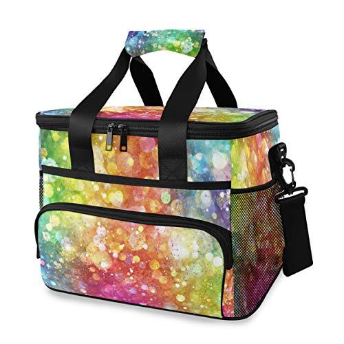 Bardic, borsa frigo colorata con bolle galleggianti arcobaleno e sole, borsa termica termica per il pranzo, 24 lattine (15 l