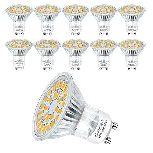 Hilleagle Lampadina LED GU10 3000K Luce Bianca calda,5 Watt 450 lumen pari a 50W Alogena,Non Dimmerabili Faretti LED, Angolo del fascio di 110 gradi,Confezione da 10