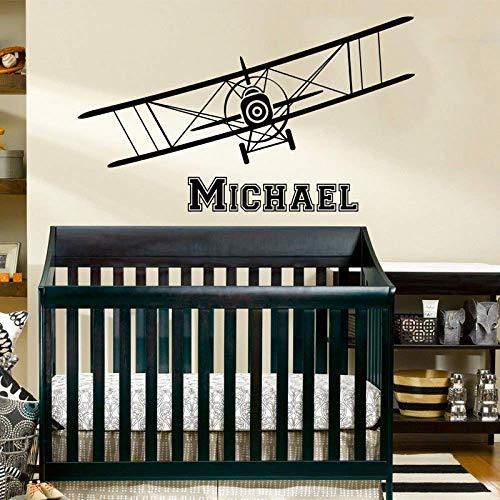 Gepersonaliseerde naam vliegtuig muur Decal Home Decor voor kinderen kamer muur Stickers Vinyl slaapkamer Decoratie Verwijderbare muurschildering 1 57x33cm