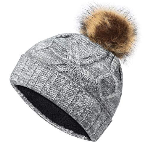 VBIGER Wintermütze Strickmütze Warme Beanie Mütze mit Fleecefutter für Mädchen und Frauen