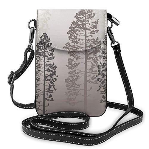 Crossbody teléfono celular bolso de pinos árboles en el bosque en niebla pequeño Crossbody bolsos de las mujeres pu bolso de hombro bolso
