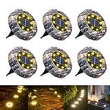 WOWDSGN 8 LED IP65 Luz de suelo solar a prueba de agua al aire libre para jardín, patio, césped, estanque y decoración de cubierta de camino. (Blanco cálido, 6 paquetes)