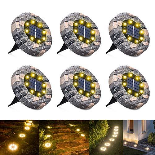 WOWDSGN Solar Bodenleuchten, 8 LEDs Solarleuchten Gartenbeleuchtung, Warmweiß Solarlicht Solarbodenstrahler, IP65 wasserdicht Solarlampen für Außen, Hof, Rasen, Weg, Garten 6er Pack