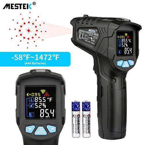 Termómetro Infrarrojo con Pistola de Temperatura MESTEK Sin contacto Digital Láser con Pantalla LCD a Color -50 ℃ ~ 800 ℃ Ajuste Emisividad Alarma Retroiluminación