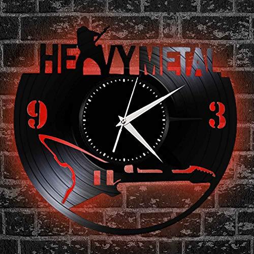 SQINAA Diseño De Moda De Reloj De Reloj De Pared De Papel para La Música Entusiasta Decoración Decoración Heavy Metal Rock Music Guitarra Eléctrica,with led Light
