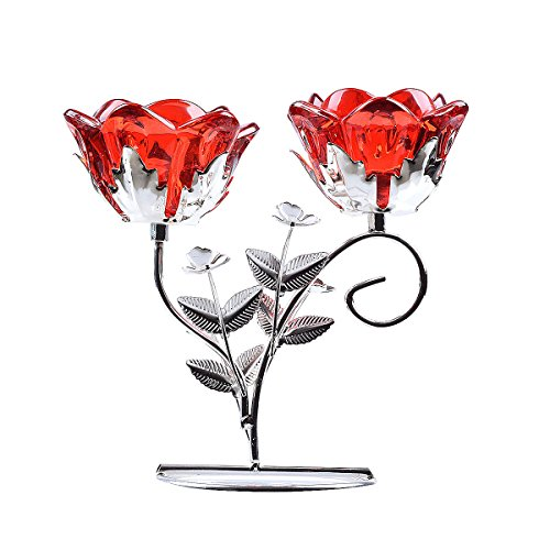 LONGWIN Rose Blossom 2-Tealight Candle Holders Tabel Centerpieces Ruby