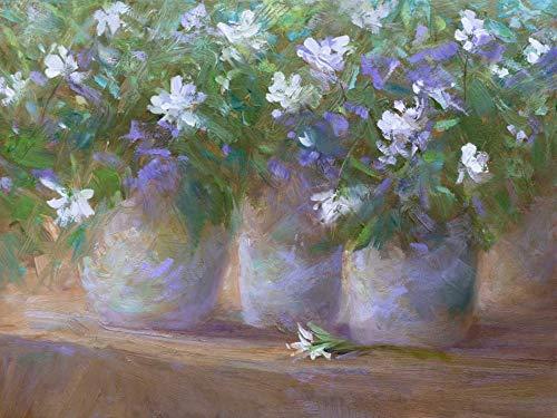 WANDAFBEELDING-op-CANVAS-drie-Potten-Finch-Sheila-Bloemen-Print-op-canvas-op-houten-frame-voor-wanddecoratie-Afbeelding-gedruckt-op-ingelijst-canvas-100%-k-Afmeting-60_X_80_cm