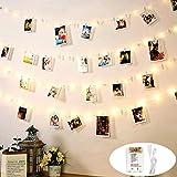 Luci Led per Foto Polaroid, DazSpirit 10M 100LED Decorative per Camere Porta Foto Luci Mollette con 50 Clip Trasparenti, USB e alimentato a batteria per Interni Casa Natale Matrimonio da Letto