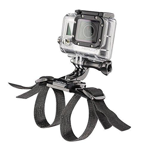 Mantona Längenverstellbarer Gurt für Fahrradhelme und andere Helme mit Lüftungsschlitzen für GoPro