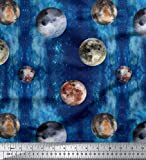 Soimoi Blau Baumwoll-Voile Stoff Mond & Planeten Galaxis