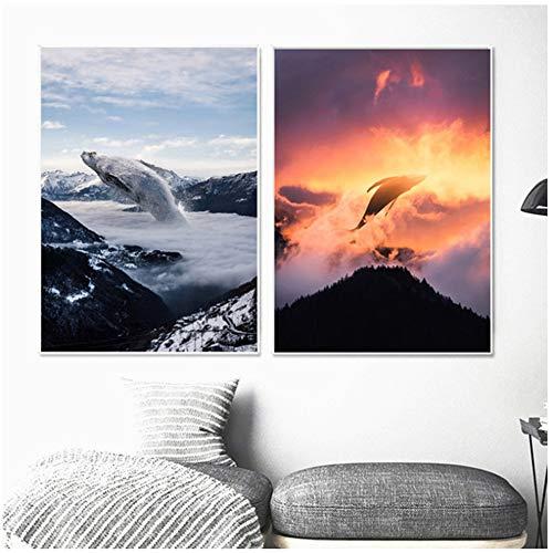 NIEMENGZHEN Druck auf Leinwand Whale Poster und Drucke Landschaft Leinwand Gemälde Wandbilder-50x70cm No Frame