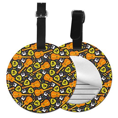 Rock Music - Juego de etiquetas para maleta de piel personalizada, accesorios de viaje, etiquetas redondas para equipaje Negro Negro 2 PC