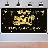 HOWAF 60. Geburtstag Party Dekorationen Schwarz und Gold,