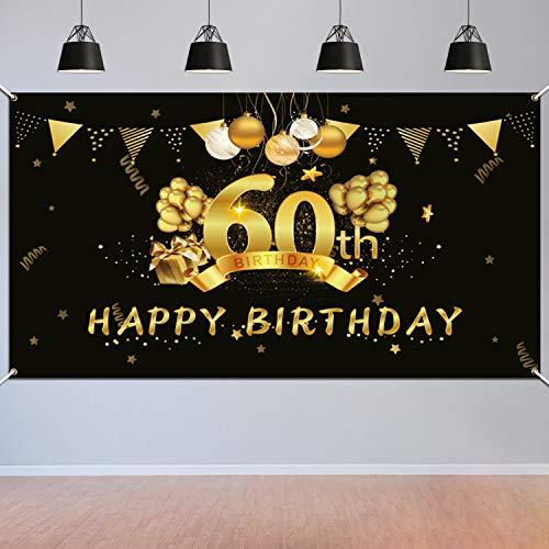 HOWAF 60. Geburtstag Party Dekorationen Schwarz und Gold, Extra Große 60 Jahre Geburtstag Fotorequisiten Hintergrund Banner, 60. Stoff Schild Poster Geburtstag Party Lieferung