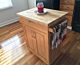 Mobile Kitchen Island Cart on Wheels, Solid Wood Butcher Block Top Rolling Storage Cabinet, Serving Cart, Small Space Utilization, Kitchen Island Organizer with Cutting Board, Natural Finish