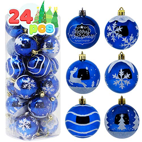"""Joiedomi 24 Pcs Christmas Ball Ornaments, Deluxe Shatterproof Christmas Ornaments for Holidays, Party Decoration, Tree Ornaments, and Special Events (Blue&White, 2.36"""")"""