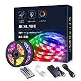 【LED Strip Lights】: LED Strips kit include 2 roll 16.4ft 150leds of 5050 RGB Super bright (300leds), a 44 key IR remote control and a DC 12V 5A power adapter. The strip is Waterproof(IP65), can be used indoor or outdoor decoration. Ideal for Home, Ki...